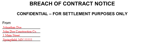 Breach Of Contract Letter Before Action from eforms.com