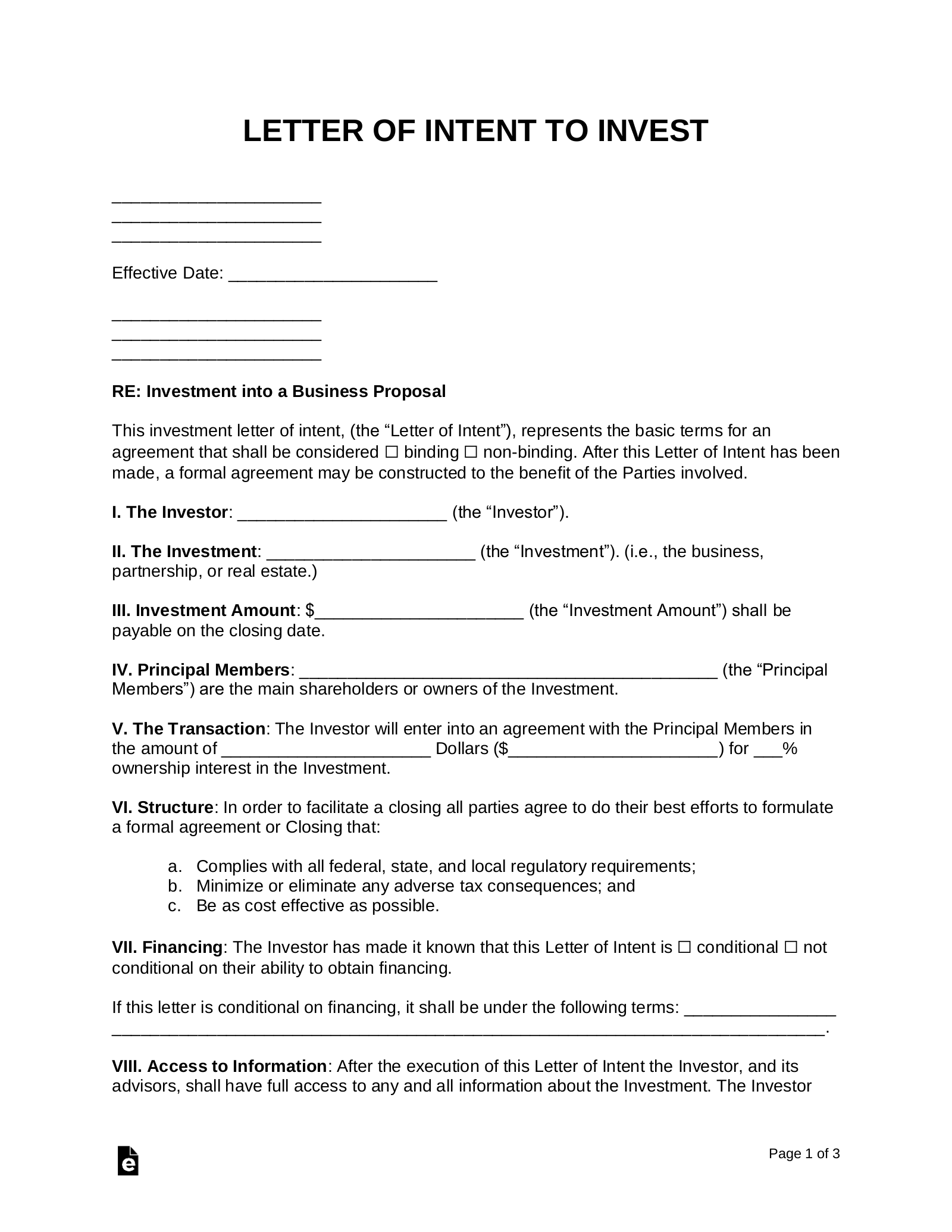 Investment Letter Of Intent.Free Business Proposal Investment Letter Of Intent