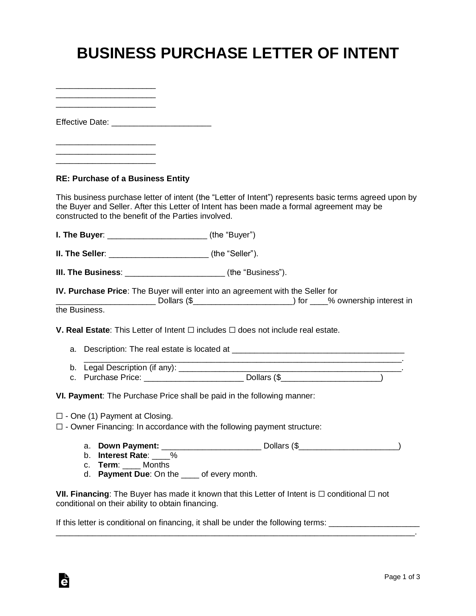 Free Business Purchase Letter Of Intent Template Pdf Word
