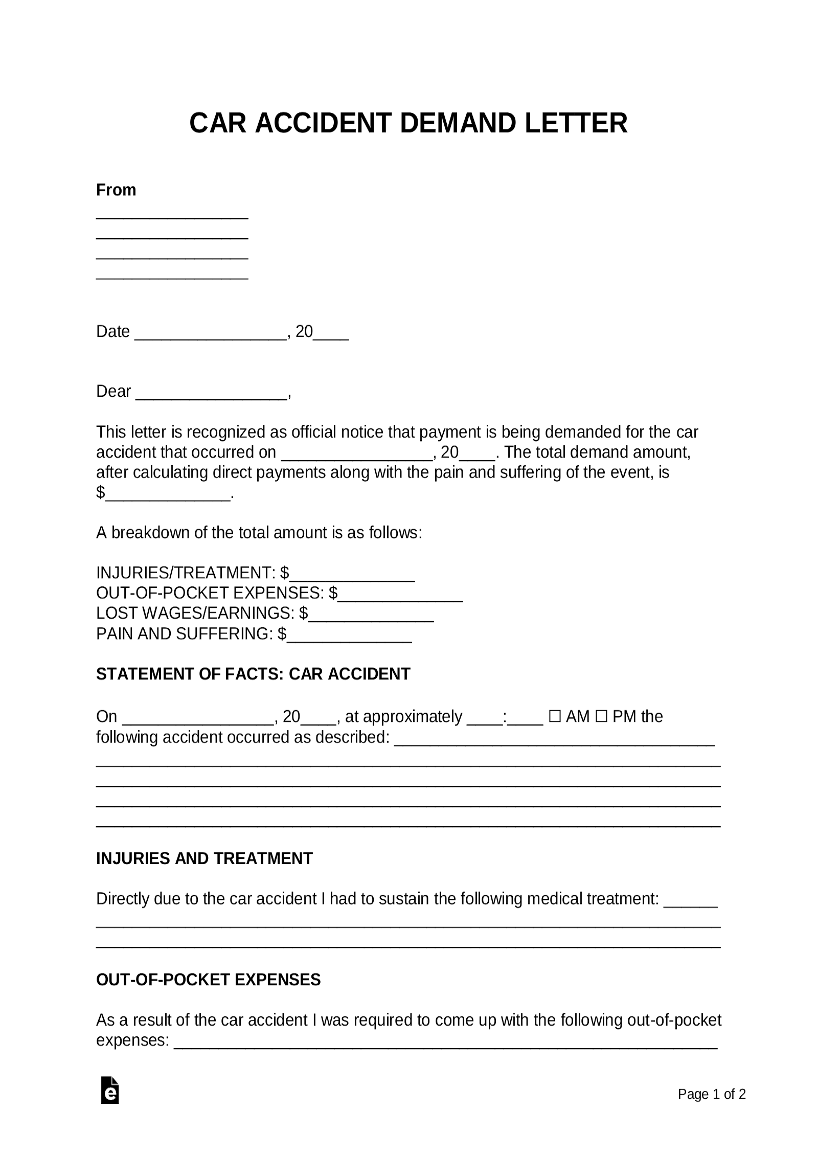 Personal Injury Demand Letter Template in 2020 | Lettering ... |Personal Injury Demand Letter Form