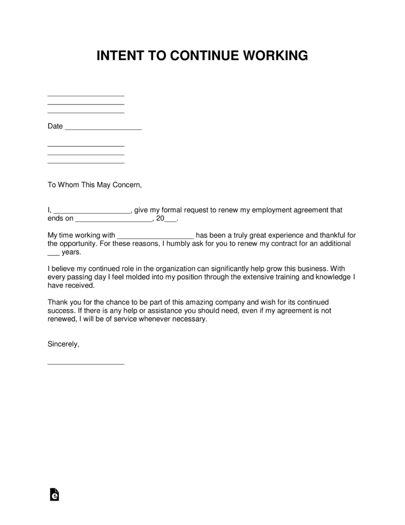 free continue working letter of intent template