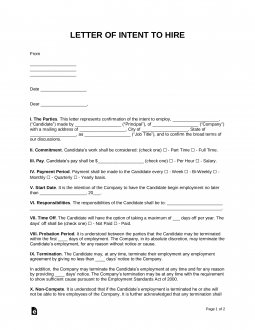 Free Intent To Hire Letter Of Intent Template Pdf Word