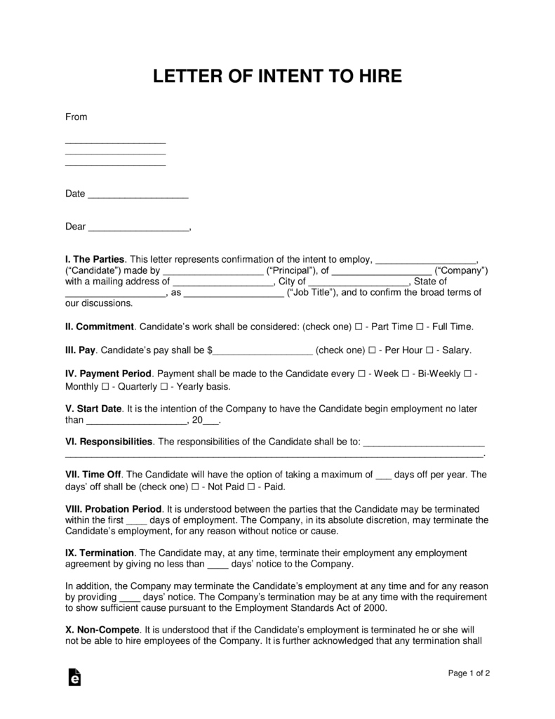 Free intent to hire letter of intent template pdf word eforms how to write spiritdancerdesigns Images