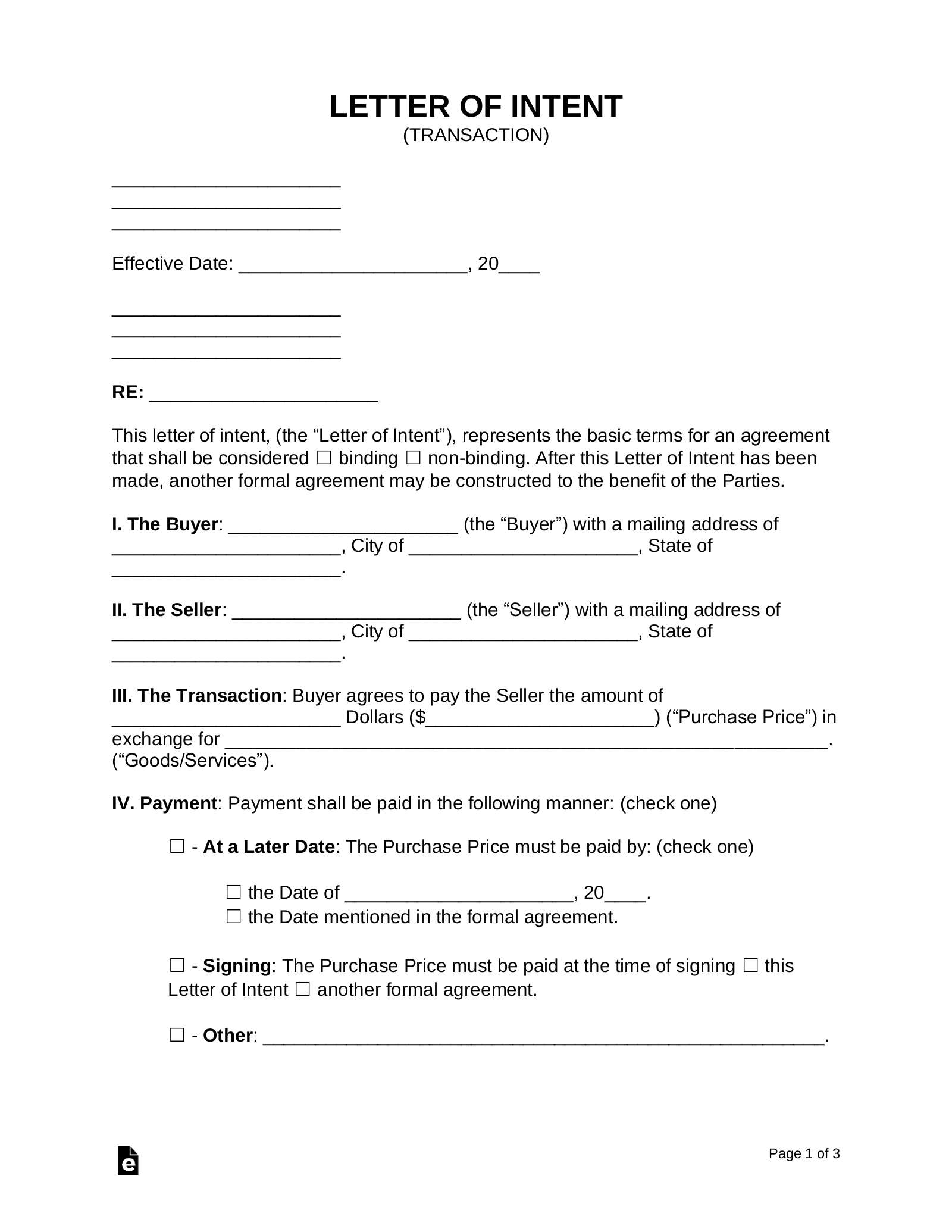 Free Letter of Intent LOI Templates   Word   PDF – eForms