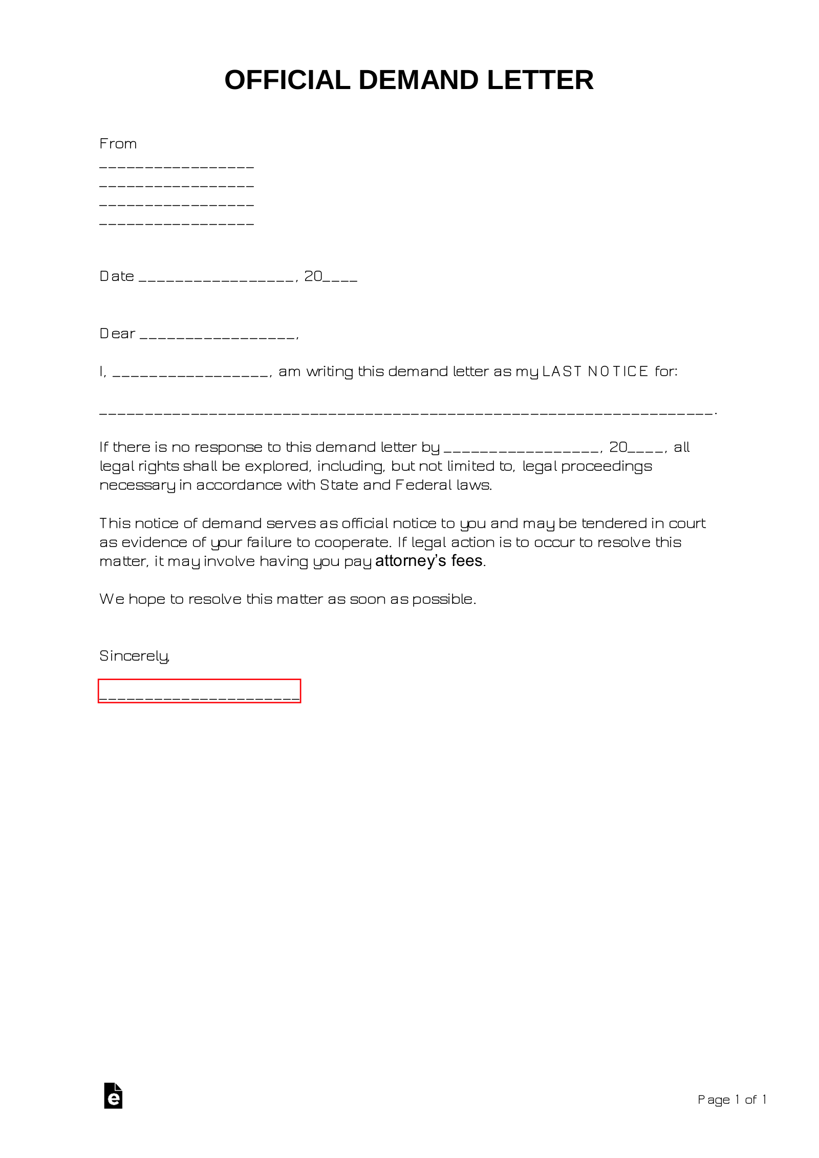 Final Demand Letter Sample from eforms.com
