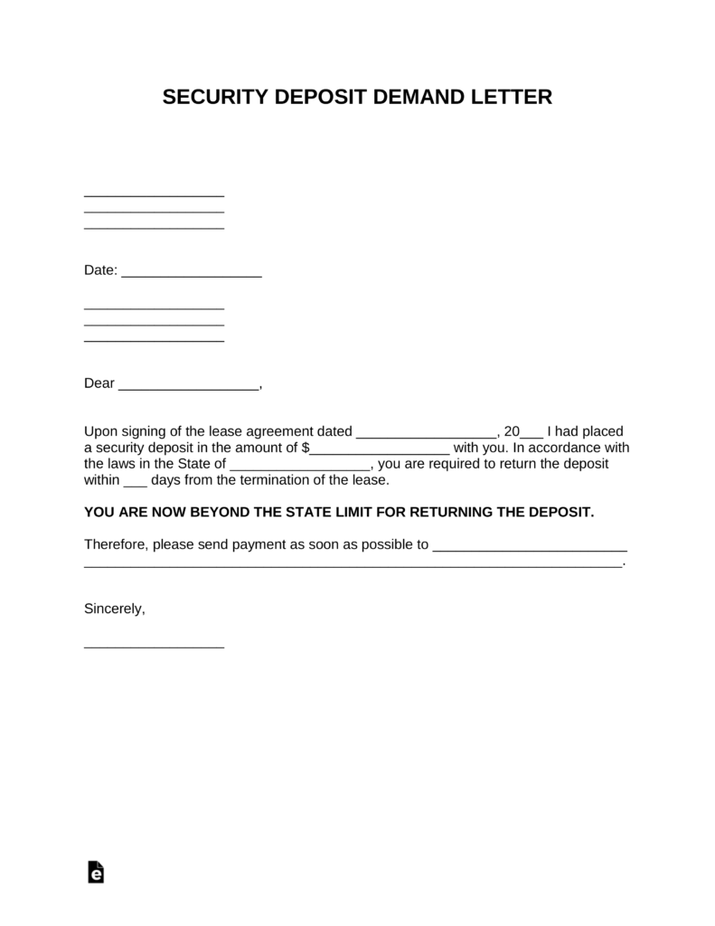 Free Security Deposit Demand Letter Template  Pdf  Word  Eforms