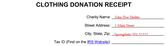 Free Clothing Donation Tax Receipt Word Pdf Eforms Free Fillable Forms