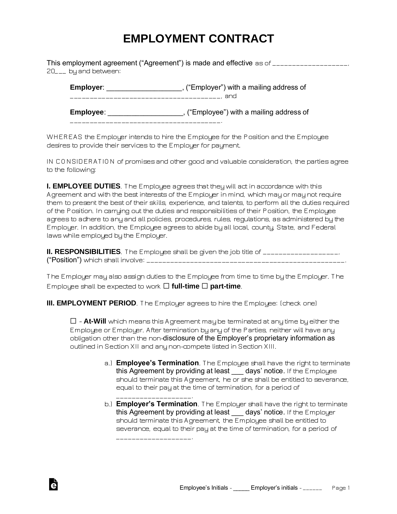 Free Employment Contract Agreement Pdf Word Eforms