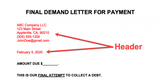 Final Demand For Payment Letter from eforms.com