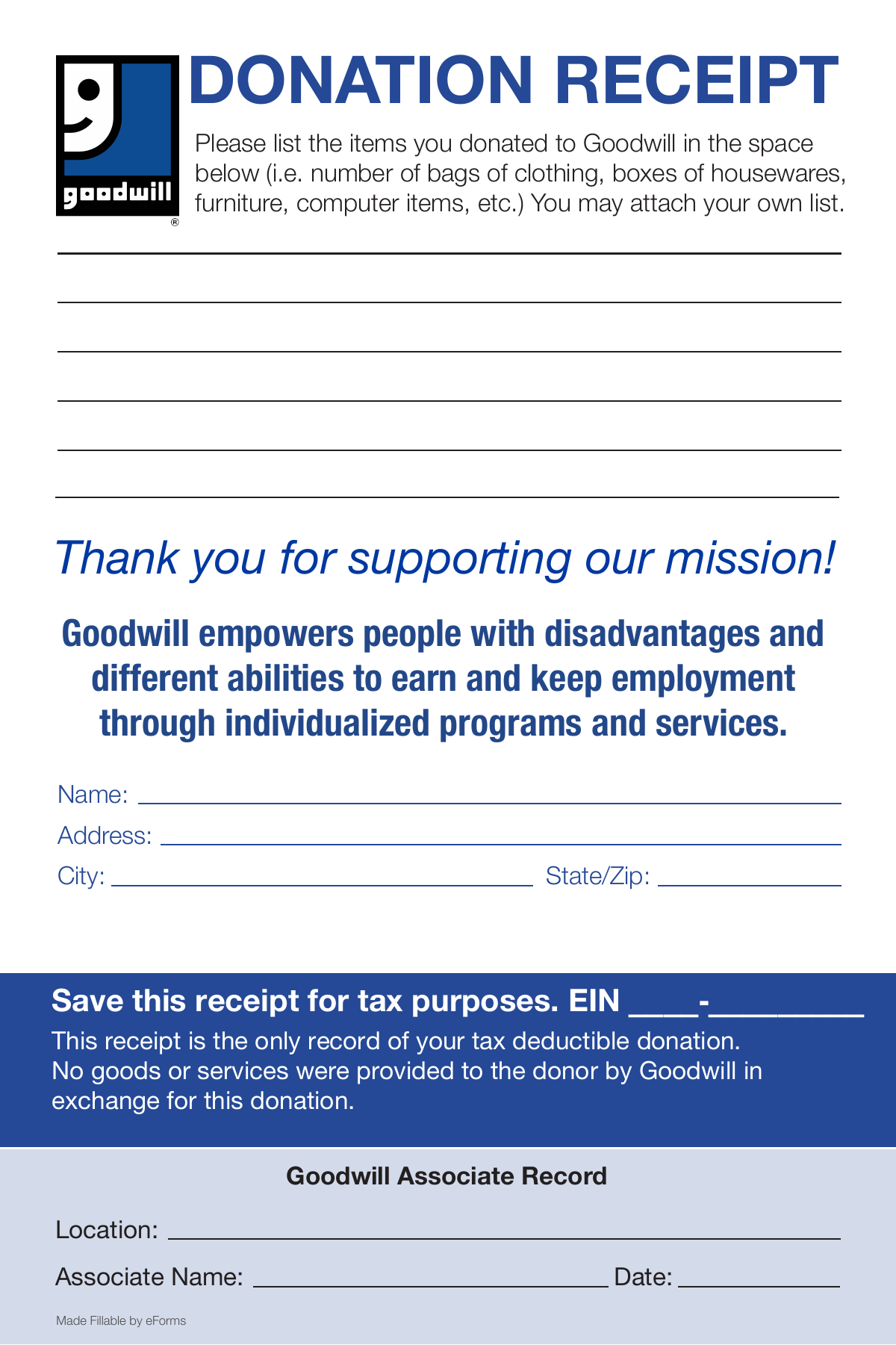 Free Goodwill Donation Receipt Template Pdf Eforms