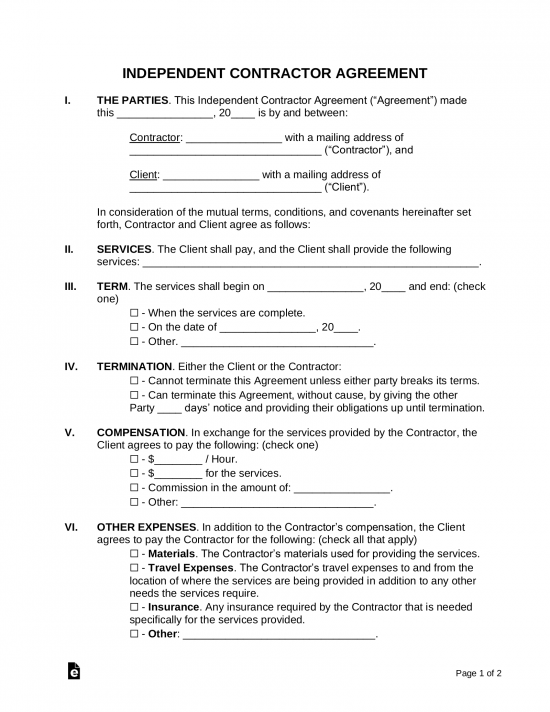 Independent Contractor Resignation Letter from eforms.com