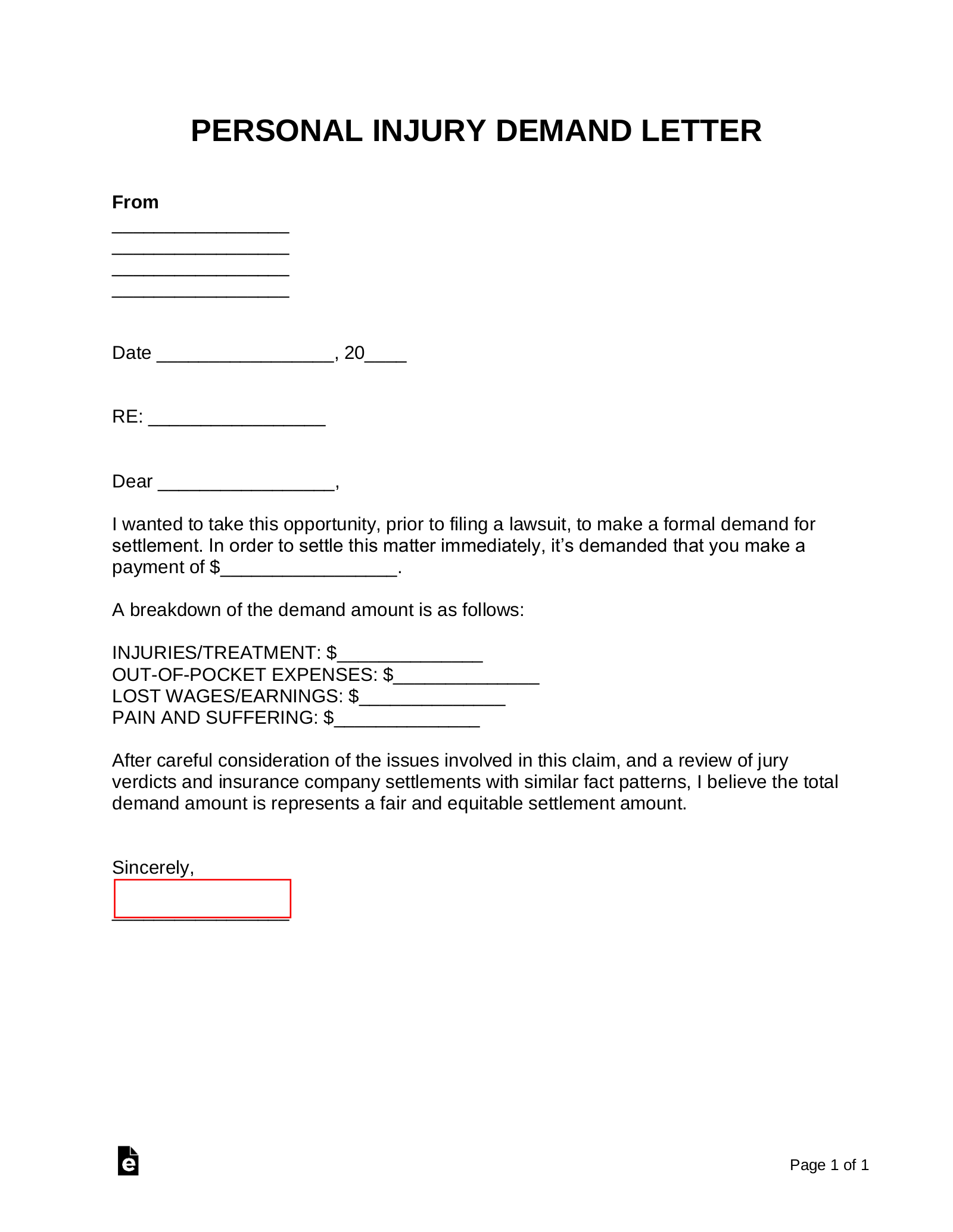 FREE 38+ Demand Letter Samples in PDF | Google Docs ... |Personal Injury Demand Letter Form