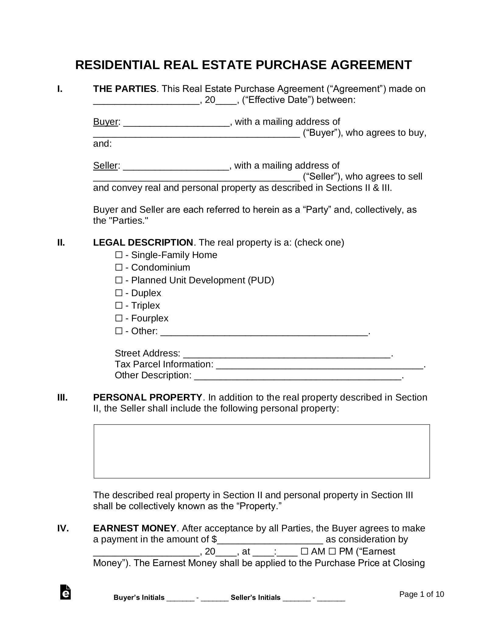Free Residential Real Estate Purchase Agreements   Word   PDF – eForms