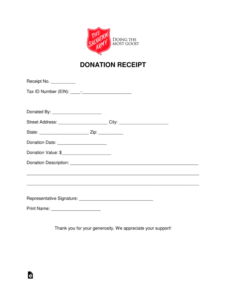 free salvation army donation receipt