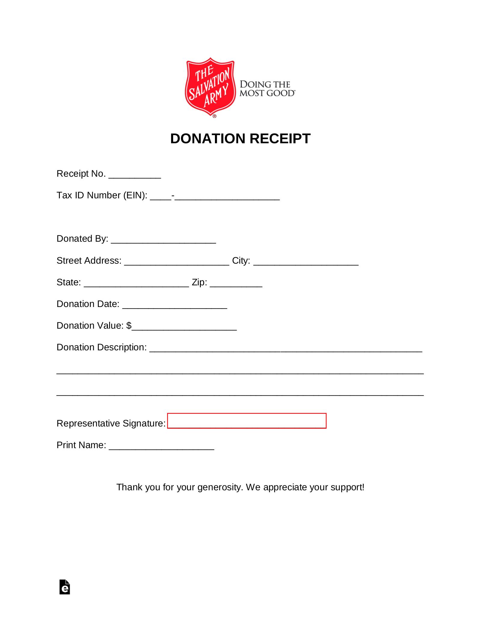 Free Salvation Army Donation Receipt Pdf Word Eforms