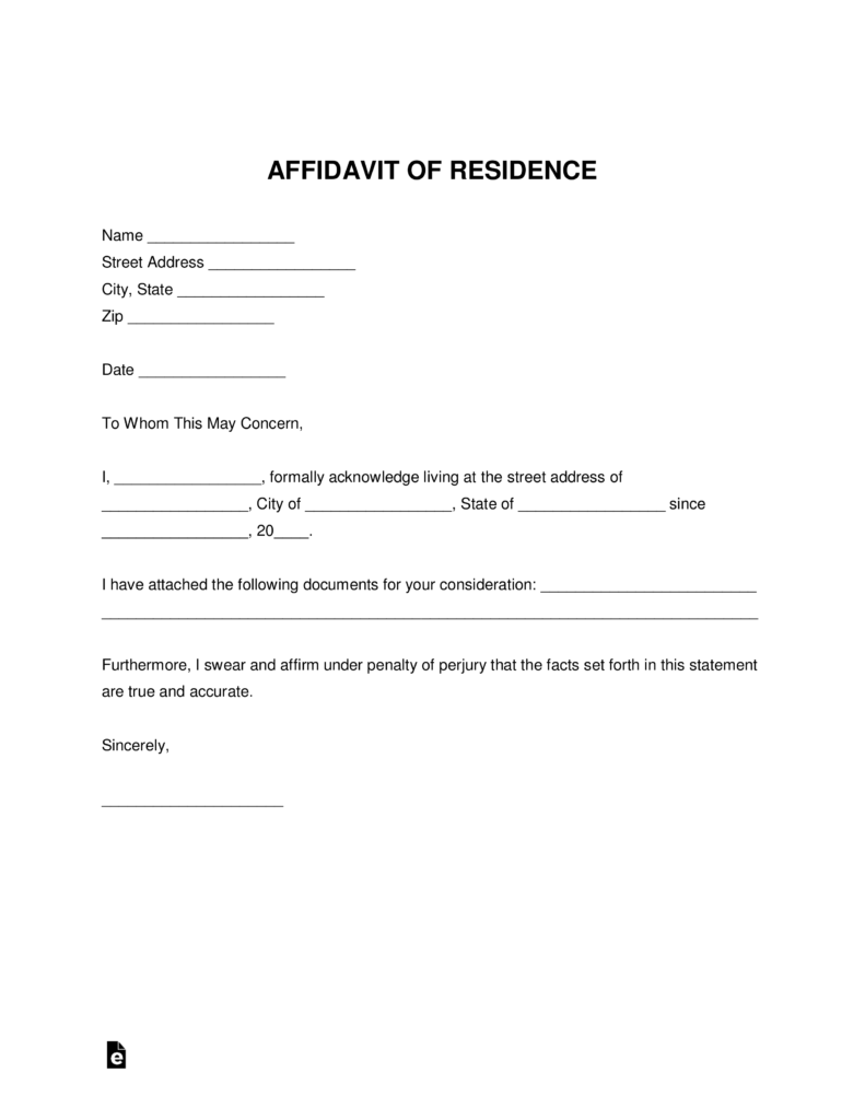 Affidavit-of-Residence-791x1024 Printable Template Of Notarized Letter Residency on for traveling child, split lease, for towing pick up, pdf minor travel, word document texas,