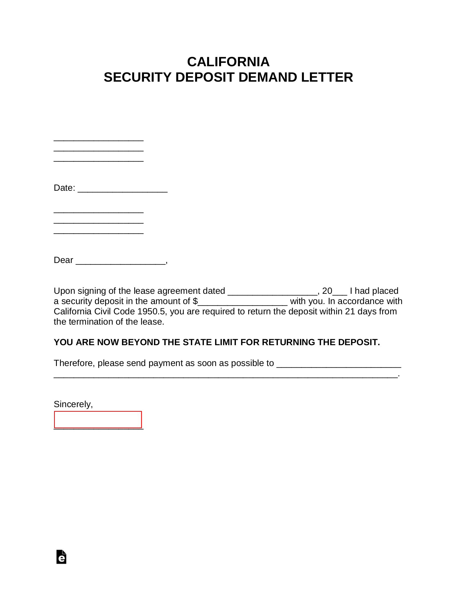 Security Deposit Demand Letter California from eforms.com