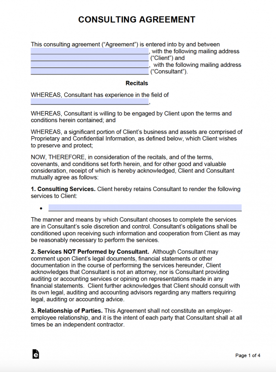 Free Consulting Agreement Template With Retainer Pdf Word Eforms