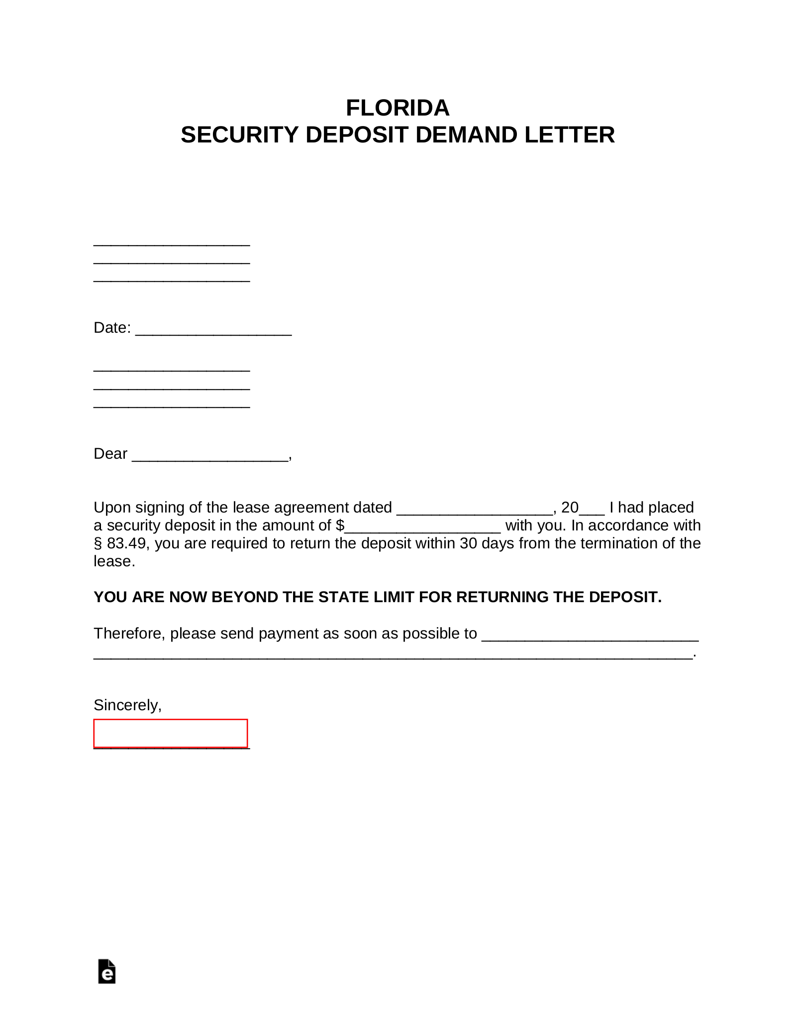 Florida Security Deposit Demand Letter from eforms.com