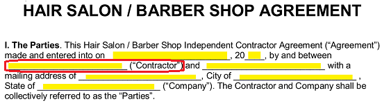 Free Salon Independent Contractor Agreement Template Pdf