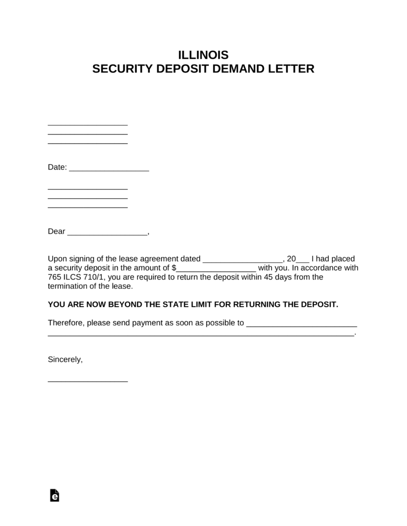 free illinois security deposit demand letter