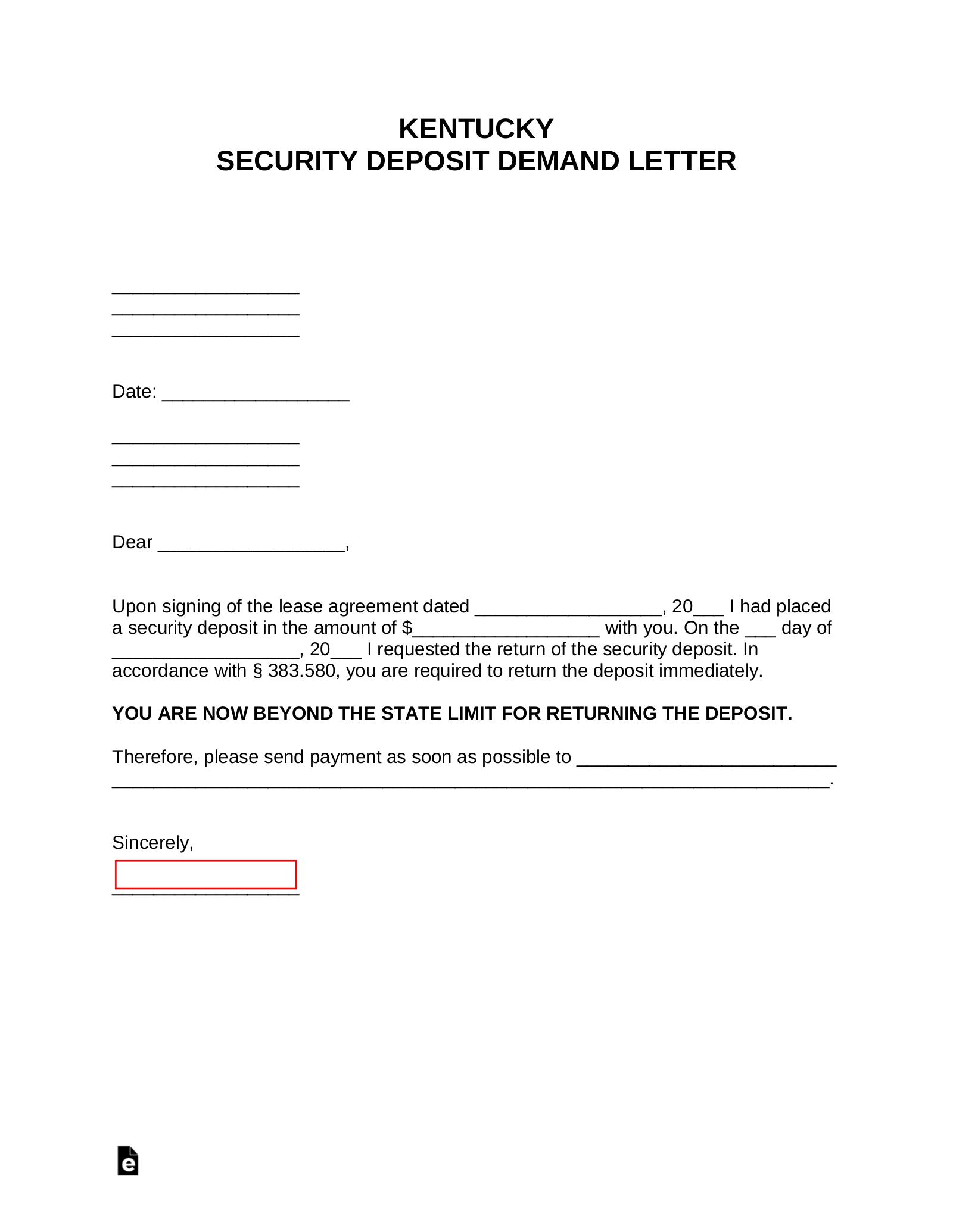 Free Kentucky Security Deposit Demand Letter - PDF | Word