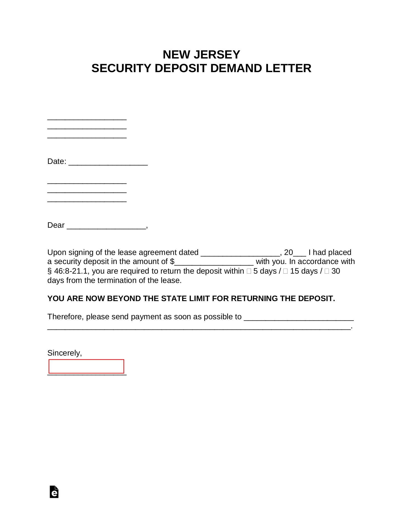 Security Deposit Letter To Tenant from eforms.com