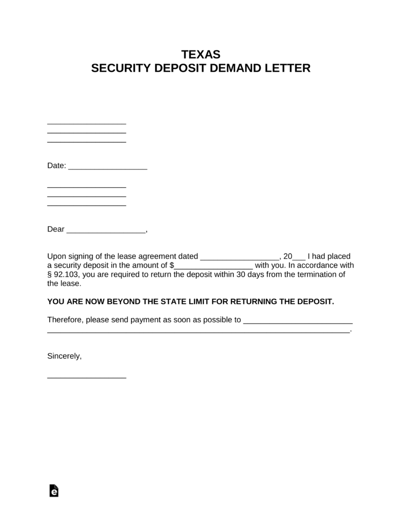 Refund Of Security Deposit Letter from eforms.com