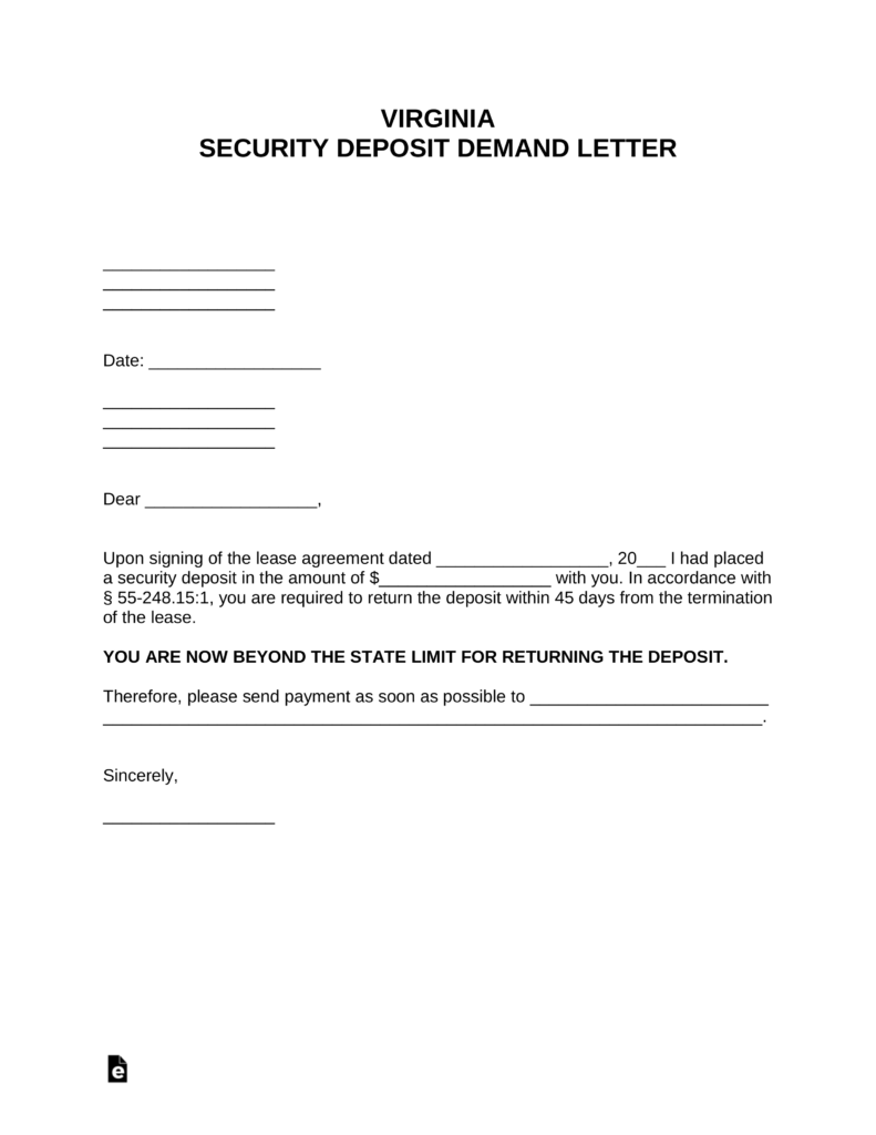 Free Virginia Security Deposit Demand Letter Pdf Word