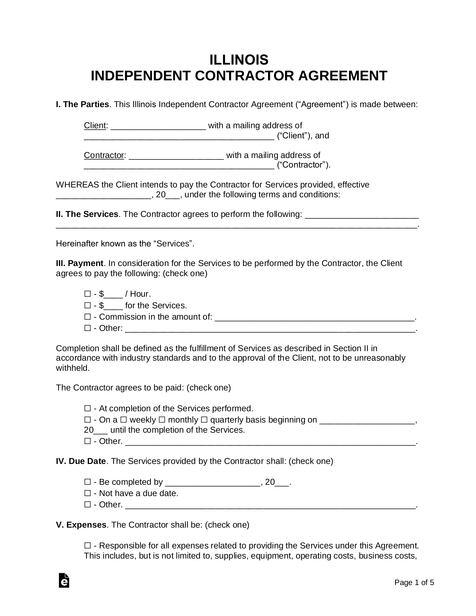 Free Illinois Independent Contractor Agreement Pdf Word