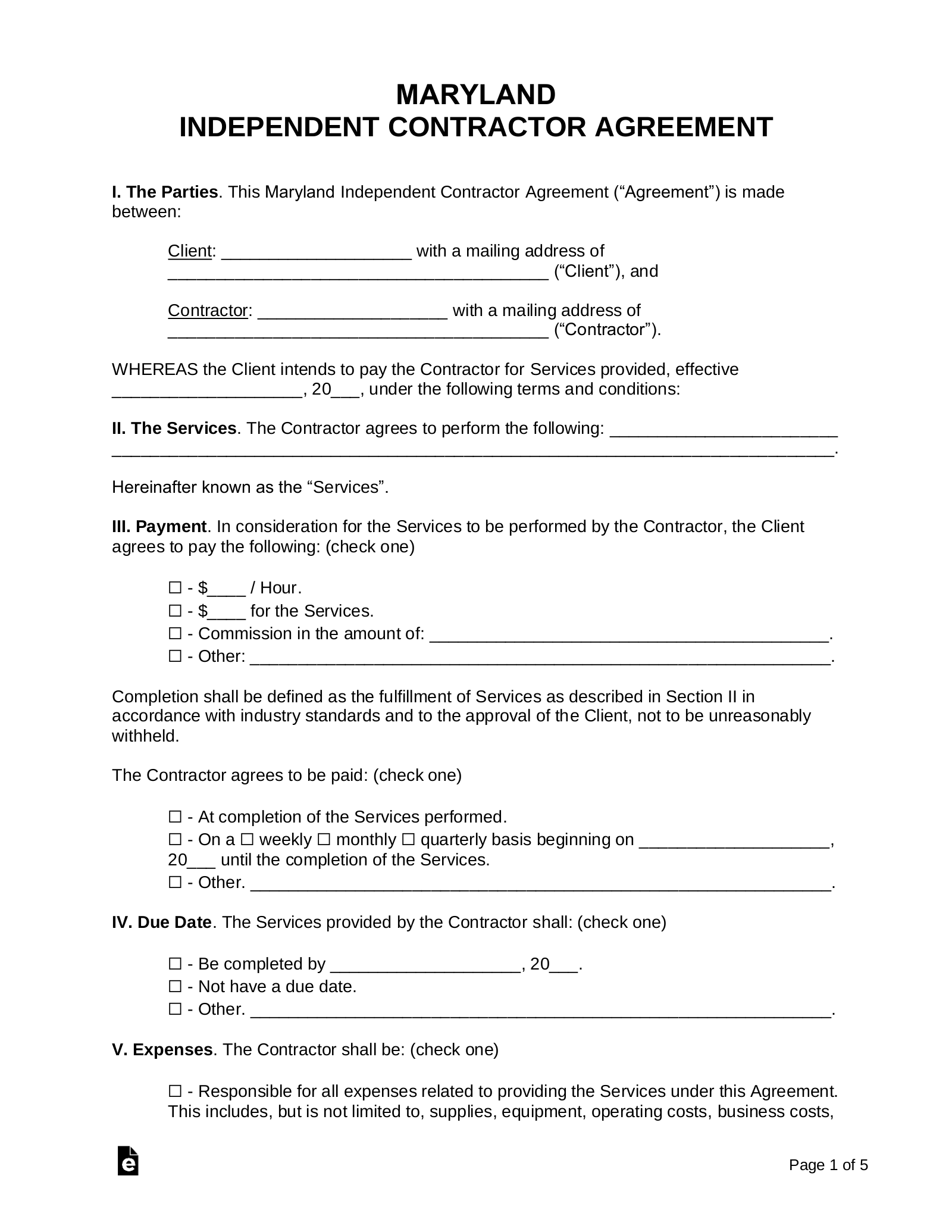 Free Maryland Independent Contractor Agreement Pdf Word