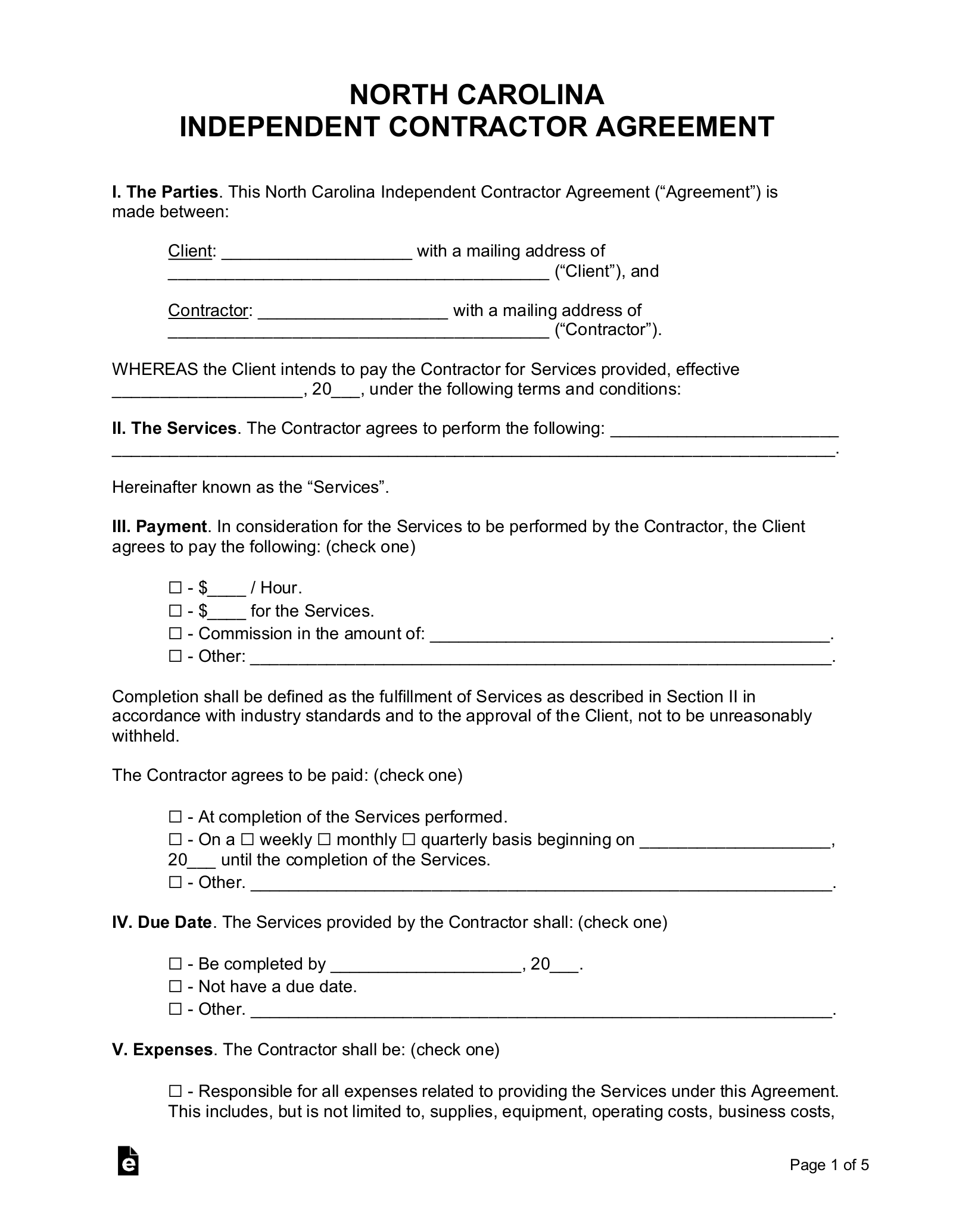 Free North Carolina Independent Contractor Agreement Word Pdf Eforms
