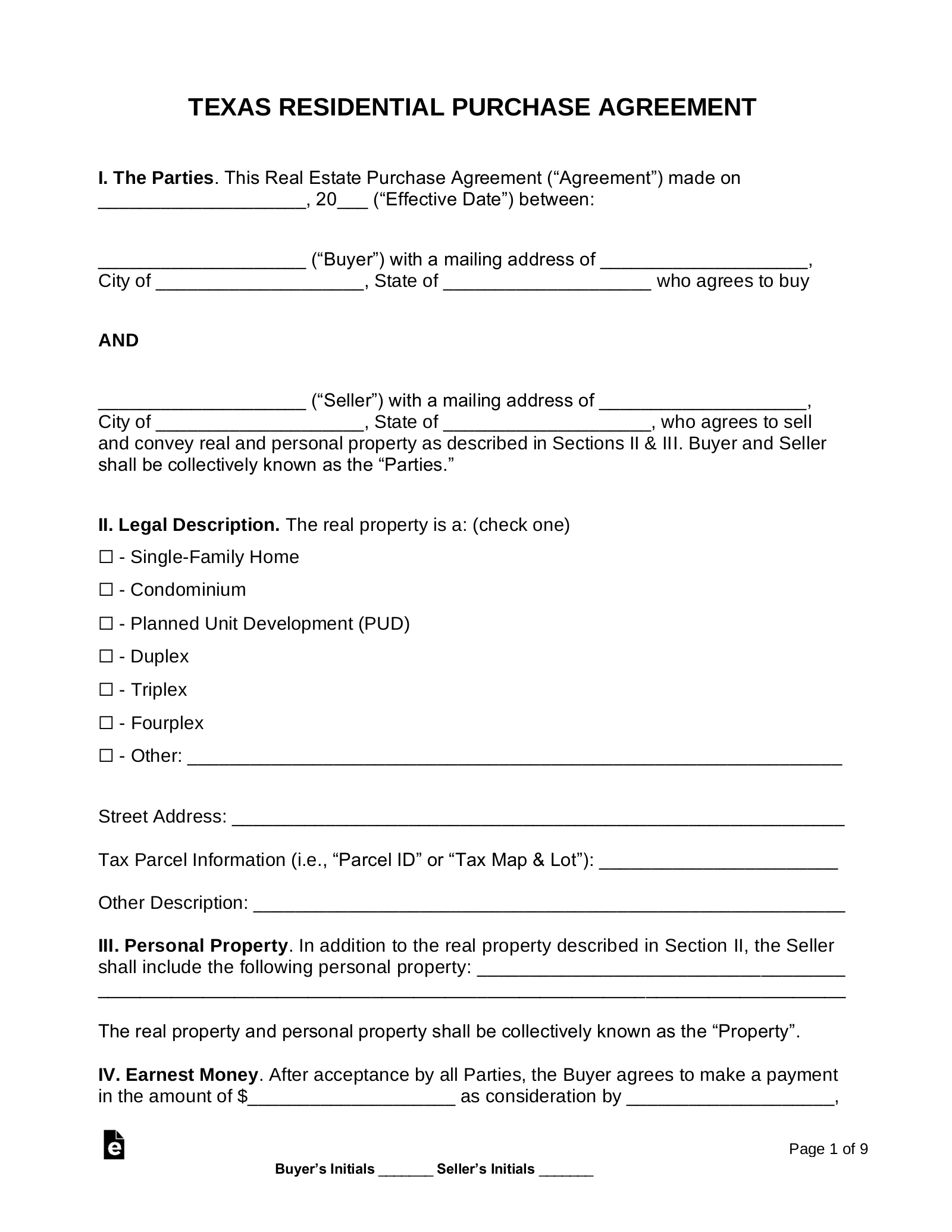 Free Texas Residential Purchase And Sale Agreement Word