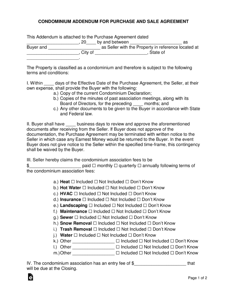 Free Condominium Association Addendum For A Purchase Agreement Pdf