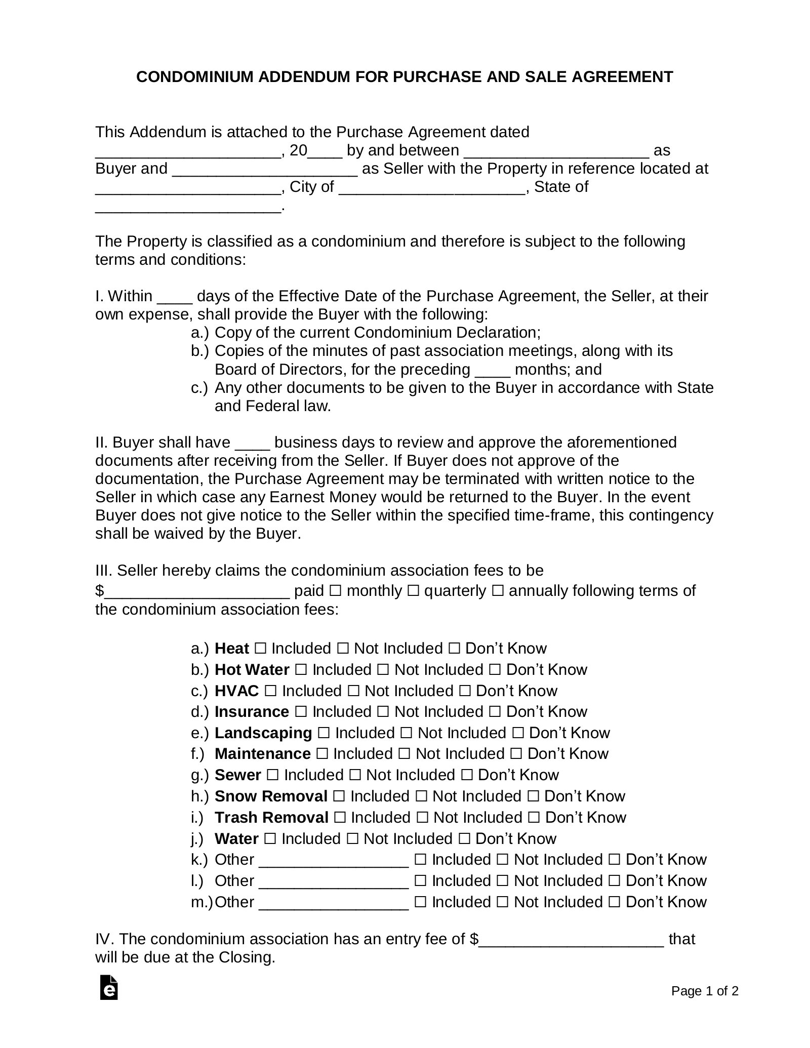 Free Condominium Association Addendum For A Purchase Agreement Pdf Word Eforms