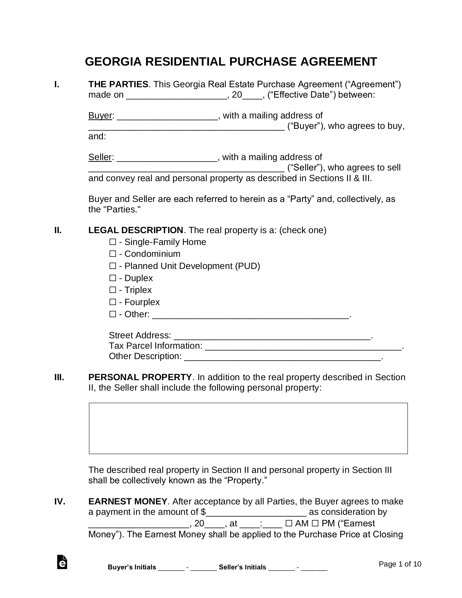 Free Georgia Residential Purchase And Sale Agreement Word