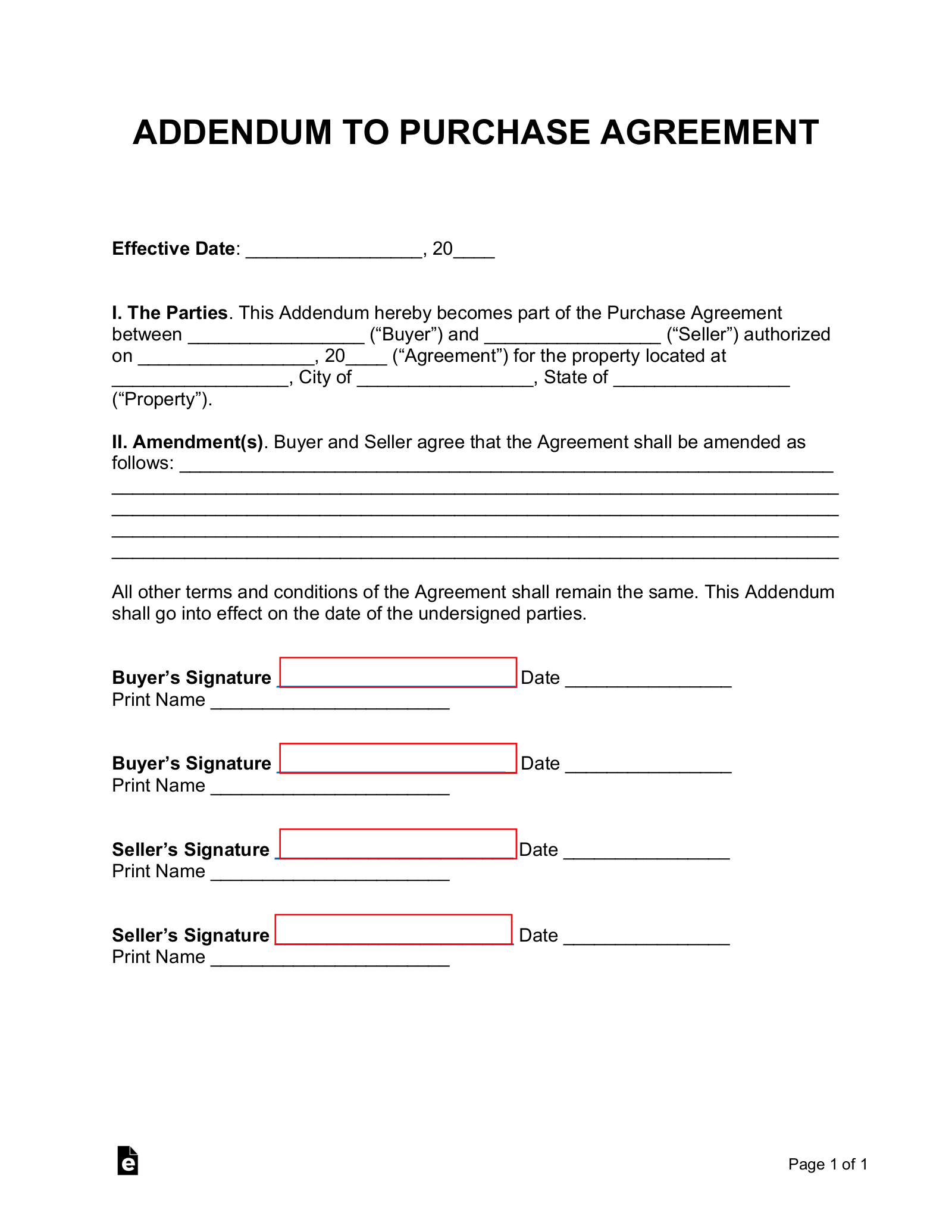Free Purchase Agreement Addendum Disclosures Word Pdf Eforms