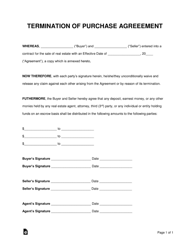 Free Termination Letter To Purchase Agreement Pdf Word Eforms