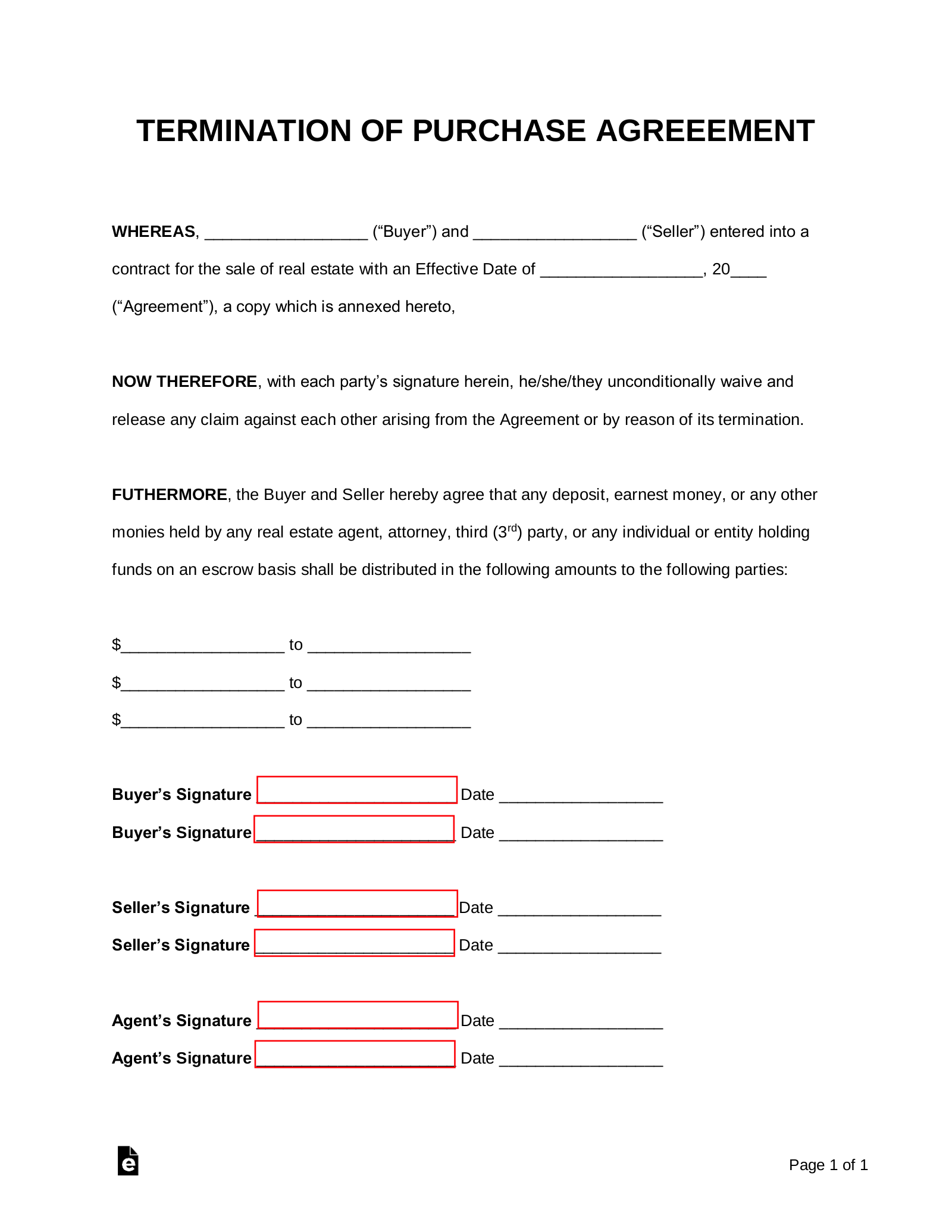 Free Termination Letter To Purchase Agreement Pdf Word