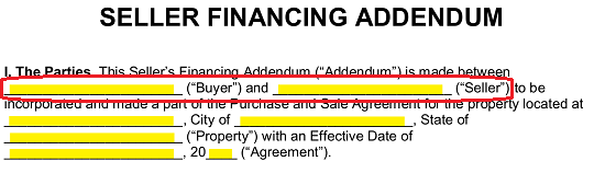 Free Seller Financing Addendum to Purchase Agreement - PDF | Word