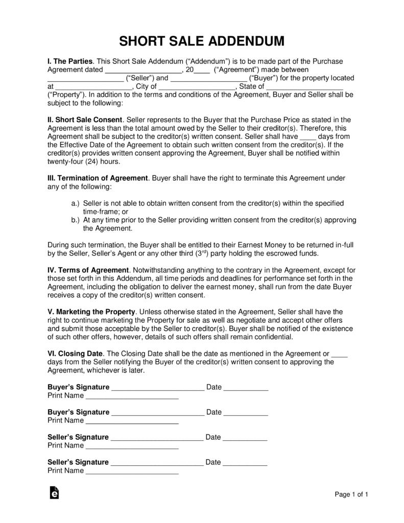 Free Short Sale Addendum To Purchase Agreement Pdf Word Eforms