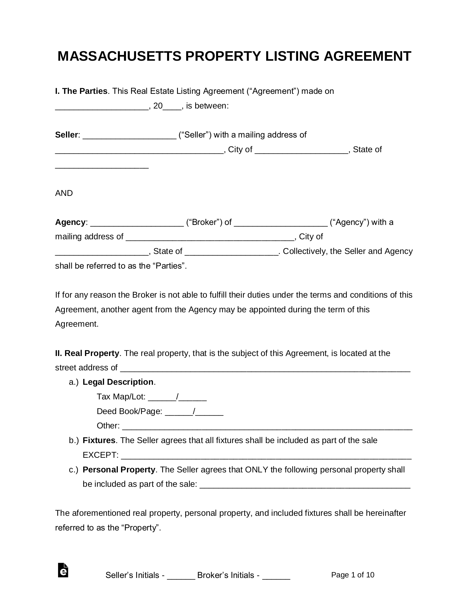 Free Massachusetts Real Estate Agent Listing Agreement Pdf Word Eforms