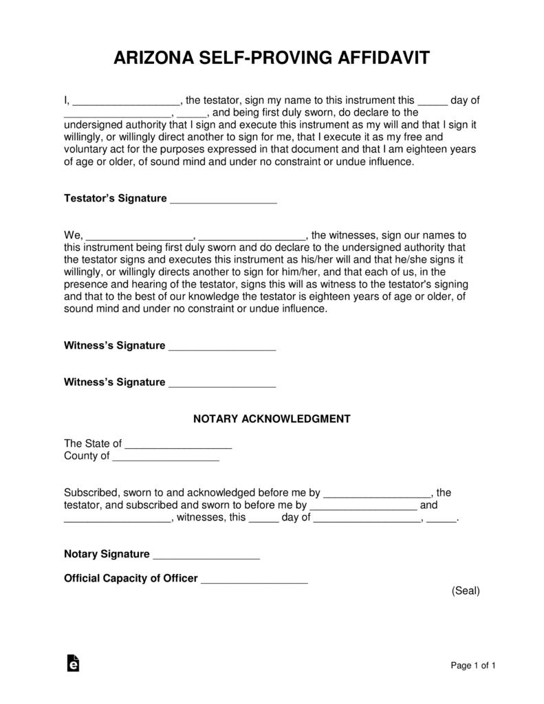 Arizona Self Proving Affidavit Form