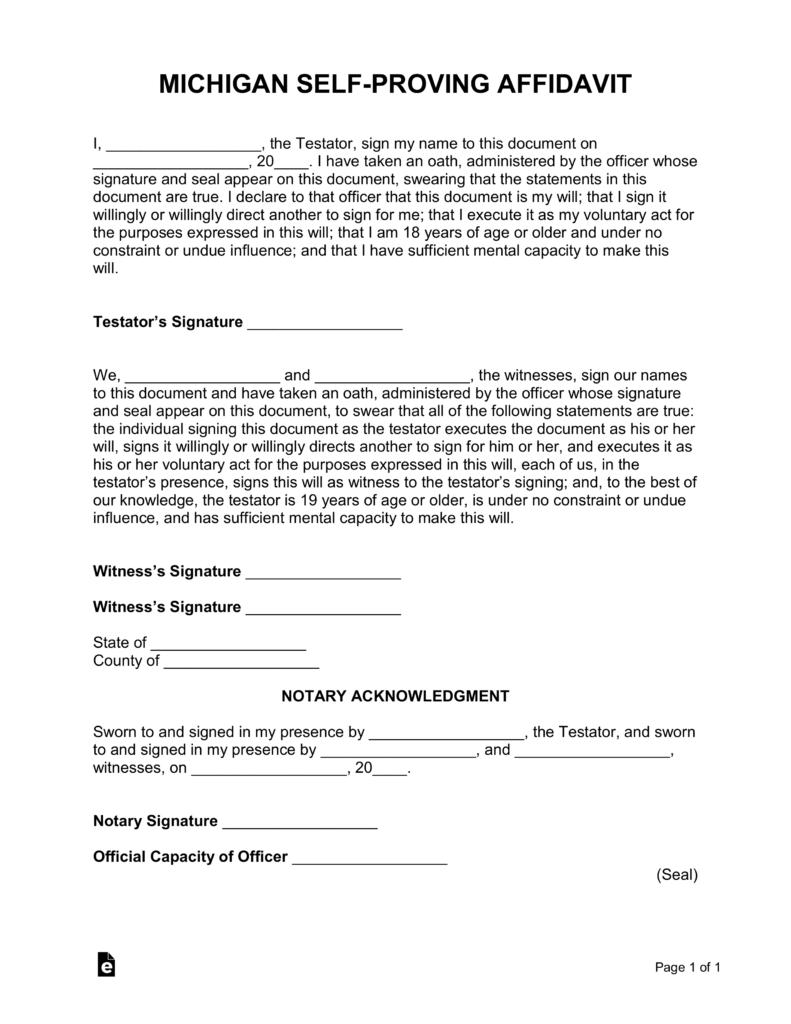 Michigan Self-Proving Affidavit Form | eForms – Free
