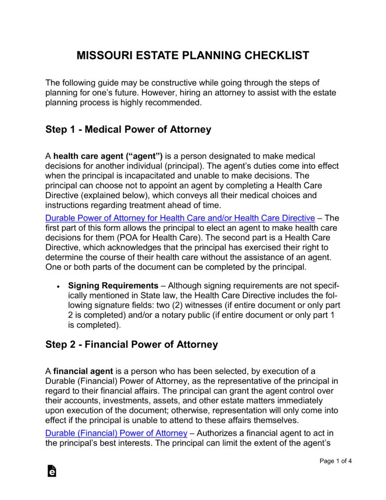 Missouri Estate Planning Laws Medical Of Attorney Health
