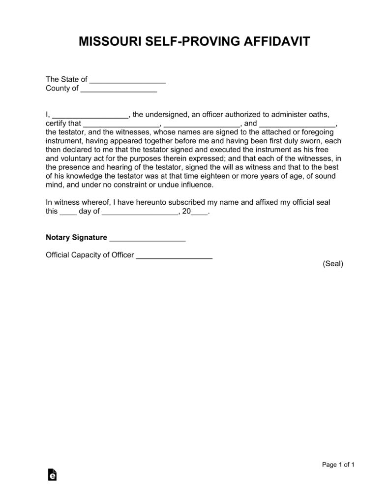 Missouri Self-Proving Affidavit Form | eForms - Free ...