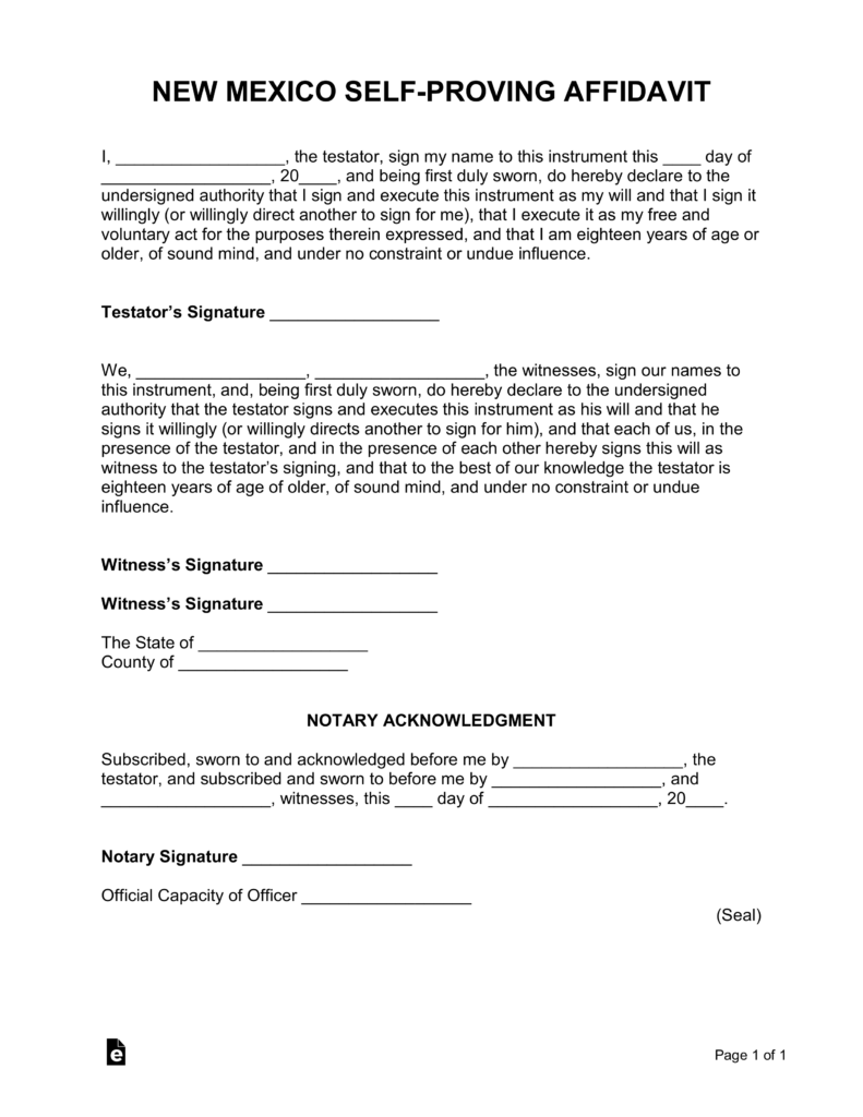 New Mexico Self-Proving Affidavit Form | eForms – Free