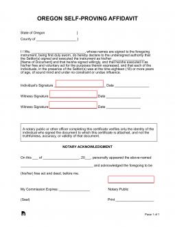 Oregon Self-Proving Affidavit Form | eForms – Free Fillable