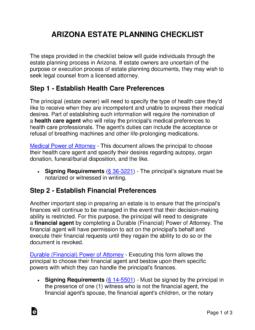 Free Arizona Estate Planning Checklist Word Pdf