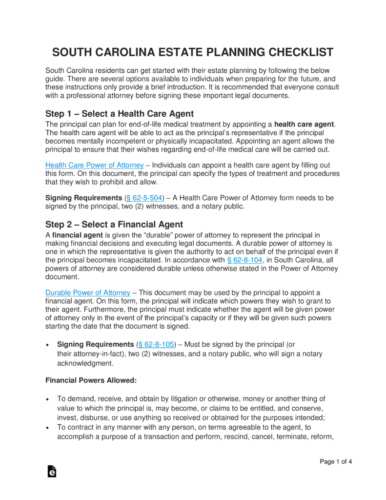 Free South Carolina Estate Planning Checklist - Word | PDF